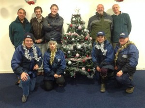 Festive break between shifts, SP & PP team with 3 Penzance Town Councillors who had been out as observers on the 1st shift. 14-15th Dec 2014.
